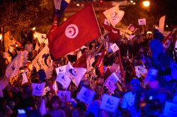 Tunis: People take part in a campaign rally