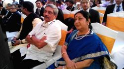 Union Defence Minister Manohar Parrikar and External Affairs Minister Sushma Swaraj during the BRICS summit at Cavelossim, Goa on Oct 15, 2016.