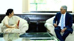 Union External Affairs Minister Sushma Swaraj meets Sher Bahadur Deuba, President of Nepali Congress in New Delhi on April 21, 2016.