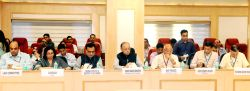 Union Finance Minister Arun Jaitley chairing the 22nd GST Council meeting, in New Delhi on Oct. 6, 2017. The Minister of State for Finance, Shiv Pratap Shukla, Revenue Secretary, Hasmukh ...