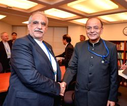 Union Finance Minister Arun Jaitley during a bilateral meeting with Iranian Finance Minister Masoud Karbasian at the International Monetary Fund in Washington, on Oct 14, 2017.