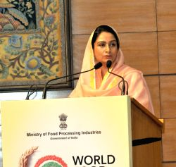 Union Food Processing Industries Minister Harsimrat Kaur Badal addresses the curtain raiser press conference for World Food India 2017 in association with Confederation of India Industry ...