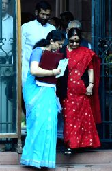 Union Minister for External Affairs Sushma Swaraj come out after a cabinet meeting in New Delhi on July 13, 2016.