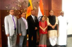 Union Minister for External Affairs Sushma Swaraj, Union Minister for Agriculture and Farmers Welfare Radha Mohan Singh, Sri Lankan Foreign Minister Mangala Samarweera and the Union ...