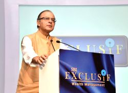 Union Minister for Finance and Corporate Affairs Arun Jaitley addresses at the launch of the SBI's Wealth Management Initiative and unveil SBI Exclusive Services, in New Delhi on July 29, ...