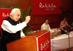 Union Minister Kapil Sibal at the launch of website''Rekhta.org'' for Urdu lovers,in New Delhi.(Photo:IANS/Amlan)
