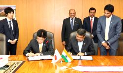 Union Petroleum Minister Dharmendra Pradhan and Japanese Minister for Health, Labour and Welfare Katsunobu Kato sign a Memorandum of Cooperation (MoC) between India and Japan on Technical ...