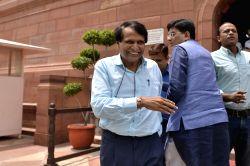 Union Railway Minister Suresh Prabhu at Parliament on Aug 4, 2017.