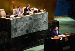 UNITED NATIONS, Sept. 21, 2017 - Japanese Prime Minister Shinzo Abe (Front) addresses the 72nd session of United Nations General Assembly on the second day of the general debate at the UN ...
