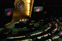 UNITED NATIONS, Sept. 27, 2016 - Indian Foreign Minister Sushma Swaraj addresses the 71st session of United Nations General Assembly during the general debate at the UN headquarters in New York, ...