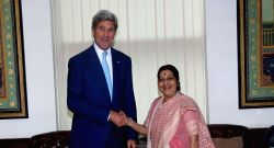 US Secretary of State John F. Kerry calls on External Affairs Minister Sushma Swaraj in New Delhi, on Aug 30, 2016.