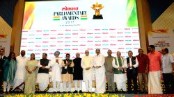 Vice President M Hamid Ansari with the awardees of the Lokmat Parliamentary Awards 2017 in New Delhi on July 19, 2017. Also seen former Prime Minister Dr. Manmohan Singh, former Punjab ...