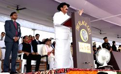 Vice President M. Venkaiah Naidu addresses a gathering during the 33rd National Security Guard Raising Day celebrations in Manesar, Haryana on Oct 16, 2017.