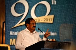 Vice President M. Venkaiah Naidu addresses at the 90th anniversary celebration of Andhra Chamber of Commerce in Chennai on Oct 17, 2017.