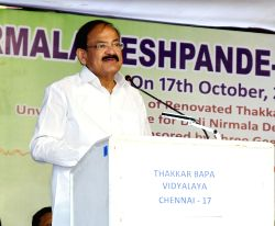 Vice President M. Venkaiah Naidu addresses during the birth anniversary celebrations of Didi Nirmala Deshpande in Chennai on Oct 17, 2017.