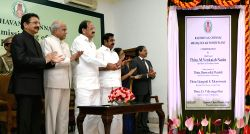 Vice President M. Venkaiah Naidu inaugurates 400kWp solar power plant at Raj Bhavan in Chennai on Oct 16, 2017. Also seen Tamil Nadu Governor Banwarilal Purohit, Maharashtra Governor C. ...