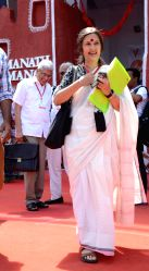 Visakhapatnam : CPI(M) General Secretary Prakash Karat and Brinda Karat coming out of the CPI(M) party congress in Visakhapatnam on April 15, 2015.