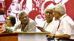 Visakhapatnam: CPI-M general secretary Prakash Karat with CPI-M leaders Sitaram Yechury and Manik Sarkar during party`s national conference in Visakhapatnam, Andhra Pradesh on April 18, 2015.