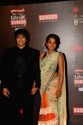 Vivek Oberoi with his wife Priyanka during the 20th Annual Life OK Screen Awards in Mumbai, on January 14, 2014.