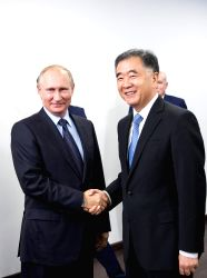 VLADIVOSTOK, Sept. 7, 2017 - Russian President Vladimir Putin (L) meets with visiting Chinese Vice Premier Wang Yang in Vladivostok, Russia, on Sept. 6, 2017.