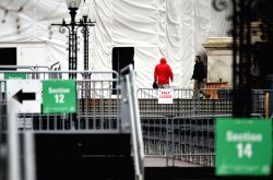 WASHINGTON, Jan. 17, 2016 - Workers prepare for the presidential inauguration on Capitol Hill in Washington D.C., the United States, on Jan. 17, 2017. Some 28,000 law enforcement officials will be ...