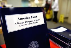WASHINGTON, March 16, 2017 - Copies of U.S. President Donald Trump administration's first budget blueprint are seen in Washington D.C., the United States, on March 16, 2017. U.S. President Donald ...