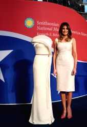 WASHINGTON, Oct. 20, 2017 - U.S. First Lady Melania Trump speaks during a donation ceremony of her inaugural ball gown at the National Museum of American History in Washington D.C., the United ...