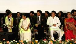 West Bengal Chief Minister Mamata Banerjee with actors Amitabh Bachchan, Shahrukh Khan, Kamal Haasan, Jaya Bachchan, Koel Mallick, Jeet and Koel Mallick during inauguration of 19th Kolkata International Film Festival in Kolkata on Nov.10, 2013.