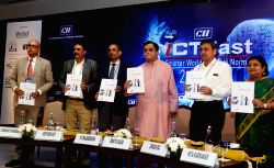 West Bengal Minister for IT and Electronics Bratya Basu, ITC Limited Group CEO V V Rajasekhar, Ericsson Global Services India MD Amitabh Ray, Software Technology Parks of India (STPI) DG  ...