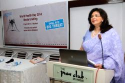 WHO representative Dr. Nata Menabde addresses a programme where the dabbawalas joined hands with World Health Organisation to draw attention of the people towards prevention and control of ...