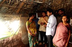 Y S R Congress chief YS Jaganmohan Reddy visits flood affected areas of Nellore district in Andhra Pradesh on Nov 26, 2015.