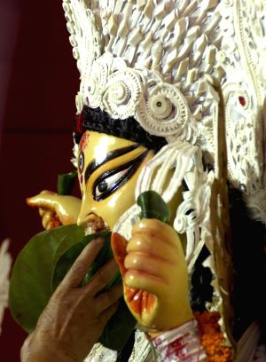 A traditional ritual during Durga Puja.