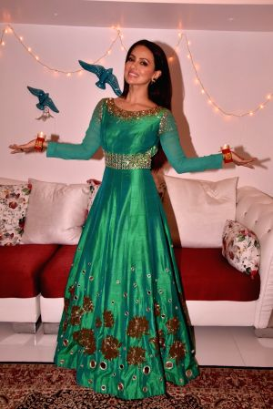 Sana Khan during the special shoot on the occasion of Diwali