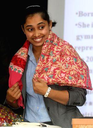 Deepa Karmakar during a felicitation programme