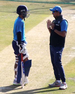 India - practice session - Ajinkya Rahane, Sanjay Bangar