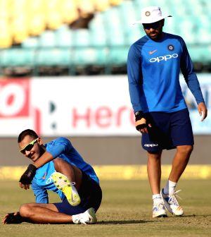 India - practice session - Axar Patel, Rohit Sharma