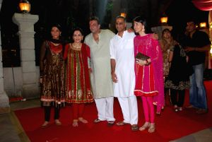 Priya Dutt, Manyata Dutt and Namrata Dutt at Mata ki Chowki at Bandra.