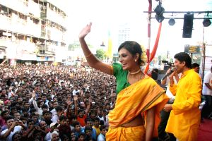 Sayali Bhagat at Worli Dahi Handi celebrations at Worli in Mumbai on Thursday Evening.