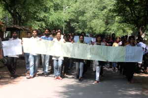 Students protest against molestation of a BHU student