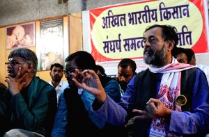 Yogendra Yadav during a farmers' conference