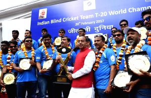 Vijay Goel felicitate the Winner Indian Team of T20 World Cup Cricket for the Blind 2017