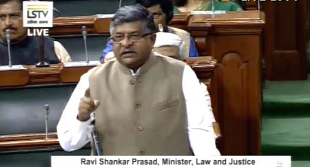 Kolkata: Union Law and Justice, Communications and Electronics and Information Technology Minister Ravi Shankar Prasad addresses in the Lok Sabha during the Winter Session of Parliament, in New Delhi on Nov 20, 2019. (Photo: IANS/LSTV)