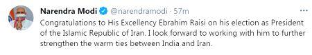 Modi congratulates Iran's new President.(photo;Modi Twitter)