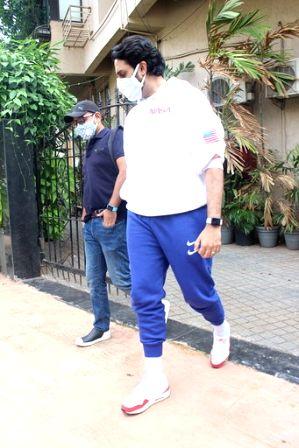 Mumbai: Actor Abhishek Bachchan seen at a dubbing studio in Mumbai's Juhu on June 30, 2020.
