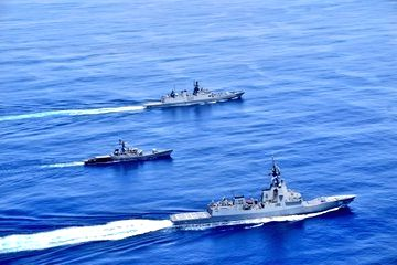 New Delhi: Indian Navy Royal Australian Navy Passage Exercise (PASSEX) underway between Royal Australian Navy & Indian Navy in Eastern Indian Ocean Region, on Sep 23, 2020. Air Warfare Destroyer HMAS Hobart, Stealth Frigate INS Sahyadri & Missile Cor