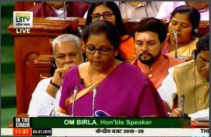 New Delhi: Union Finance and Corporate Affairs Minister Nirmala Sitharaman presents the Union Budget 2019 in the Lok Sabha, on July 5, 2019. (Photo: IANS/LSTV)
