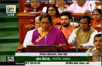 New Delhi: Union Finance and Corporate Affairs Minister Nirmala Sitharaman presents the Union Budget 2019 in the Lok Sabha, on July 5, 2019. (Photo: IANS/LSTV)