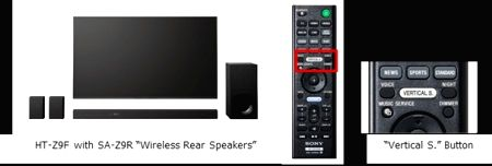 """Sony HT-Z9F Soundbar with SA-Z9R """"Wireless Rear Speakers"""". Virtual three-dimensional sound can be enjoyed thanks to the """"Vertical S."""" button on the remote that pushes the HT-Z9F to up-mix 2ch stereo content up to 7.1.2ch."""