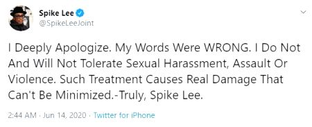 Spike Lee apologises for defending Woody Allen.