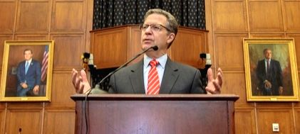 US Ambassador-at-Large for International Religious Freedom Sam Brownback speaks on Monday, June 24, at the Hindu American Foundation's (HAF) Capitol Reception. He was awarded HAF's Mahatma Gandhi Award for Advancing Pluralism. (Photo: HAF)